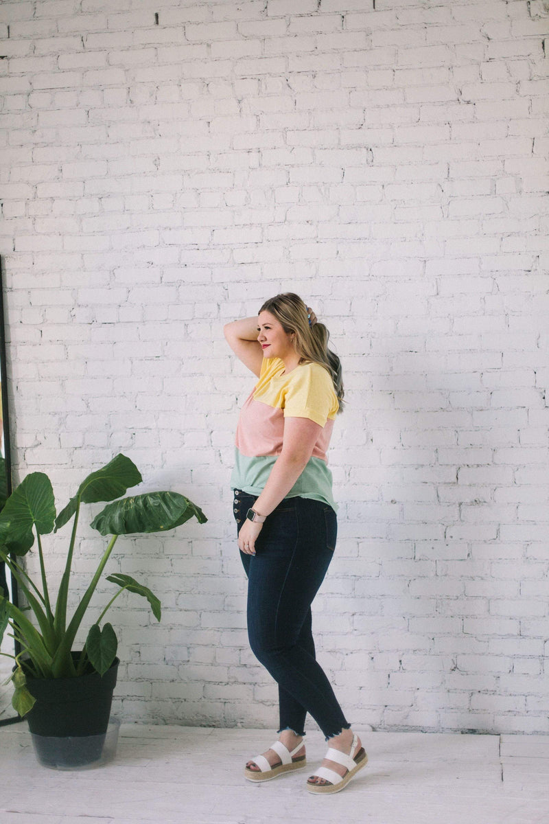 Tops Holly Color Block Tee Yellow