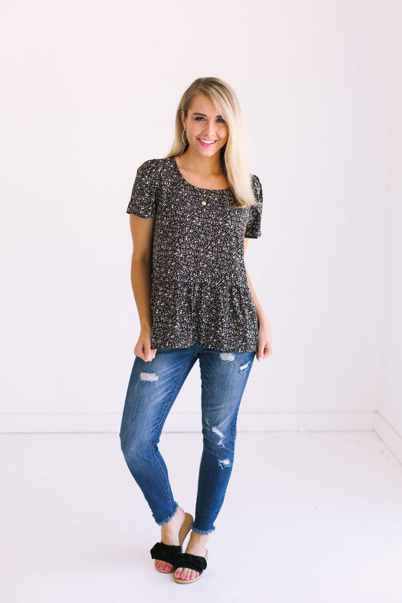 Tops Imogen Floral Top Black