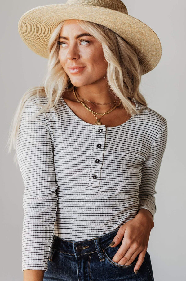 Tops Jake Button Down Stripe Bodysuit