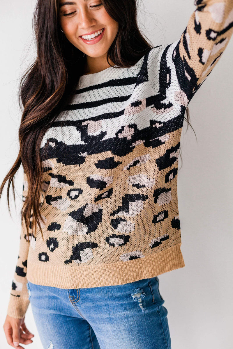 Tops Jessica Leopard & Stripe Sweater
