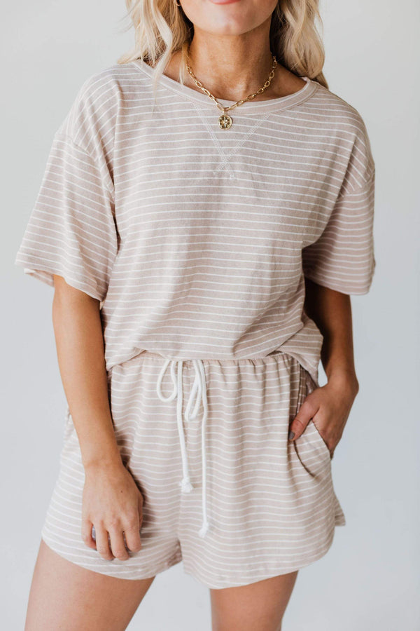 Tops Jules Striped Lounge Set Taupe