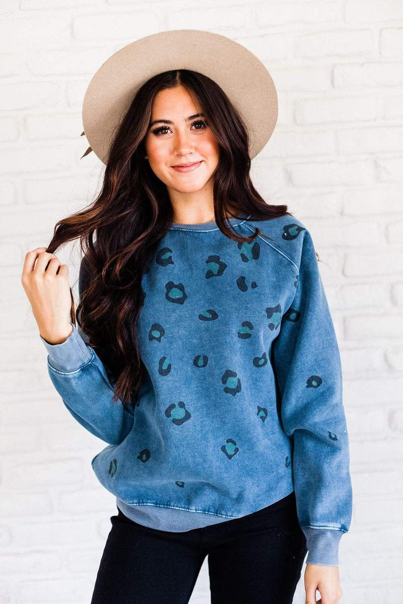Tops Julia Leopard Sweatshirt Blue