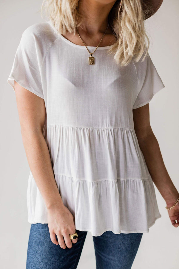 Tops Karter Tiered Peplum Top Ivory
