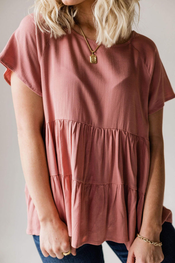 Tops Karter Tiered Peplum Top Mauve
