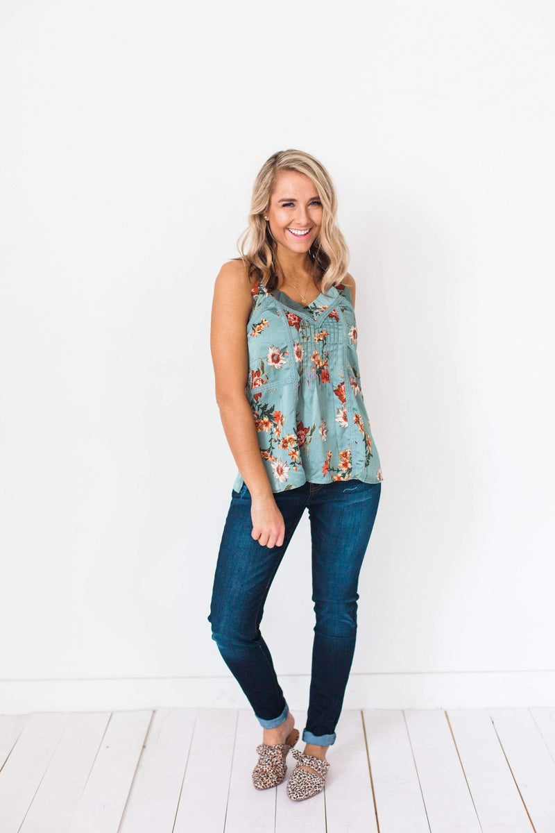 Tops Kayla Floral Tank Top Teal