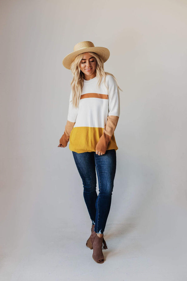 Tops Kellyn Color Block Sweater Mustard