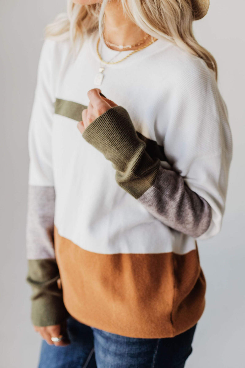Tops Kellyn Color Block Sweater Taupe