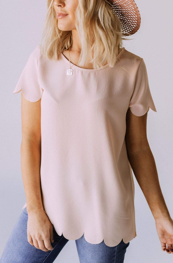 Tops Kendall Scalloped Trim Top Blush