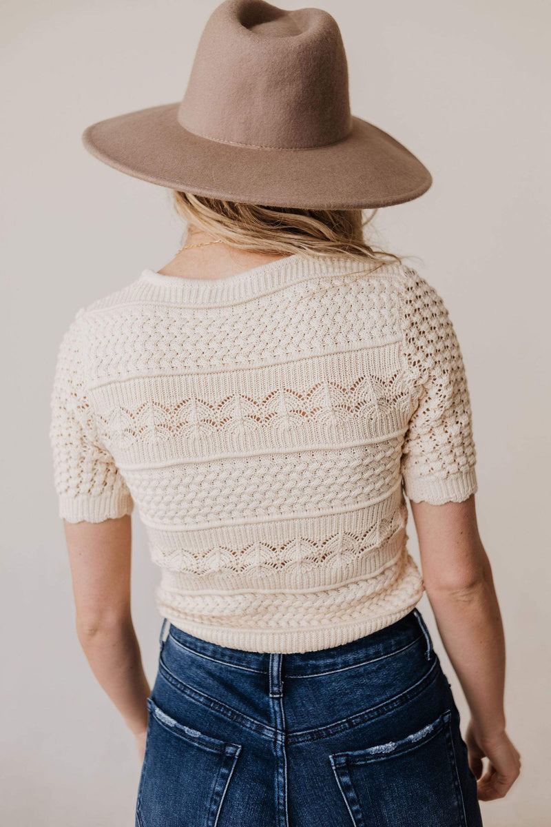 Tops Lacey Short Sleeve Knit Sweater Natural