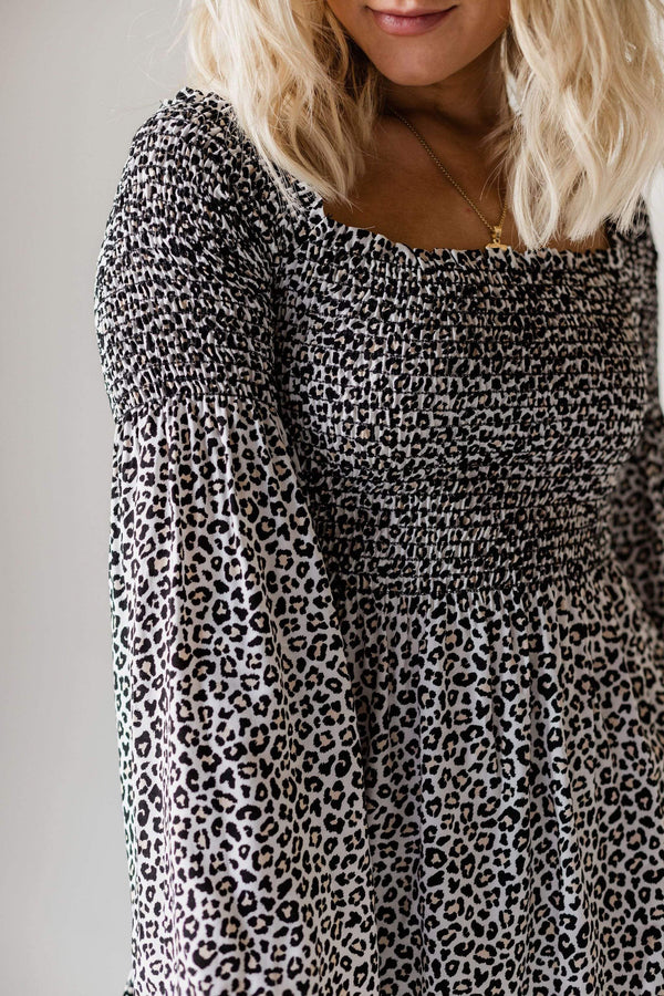 Tops Leah Smocked Leopard Top