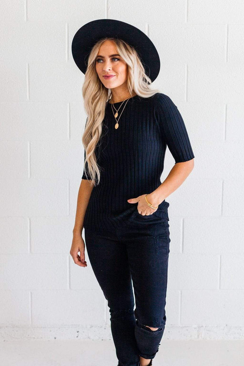 Tops Lennox Ribbed Top Black