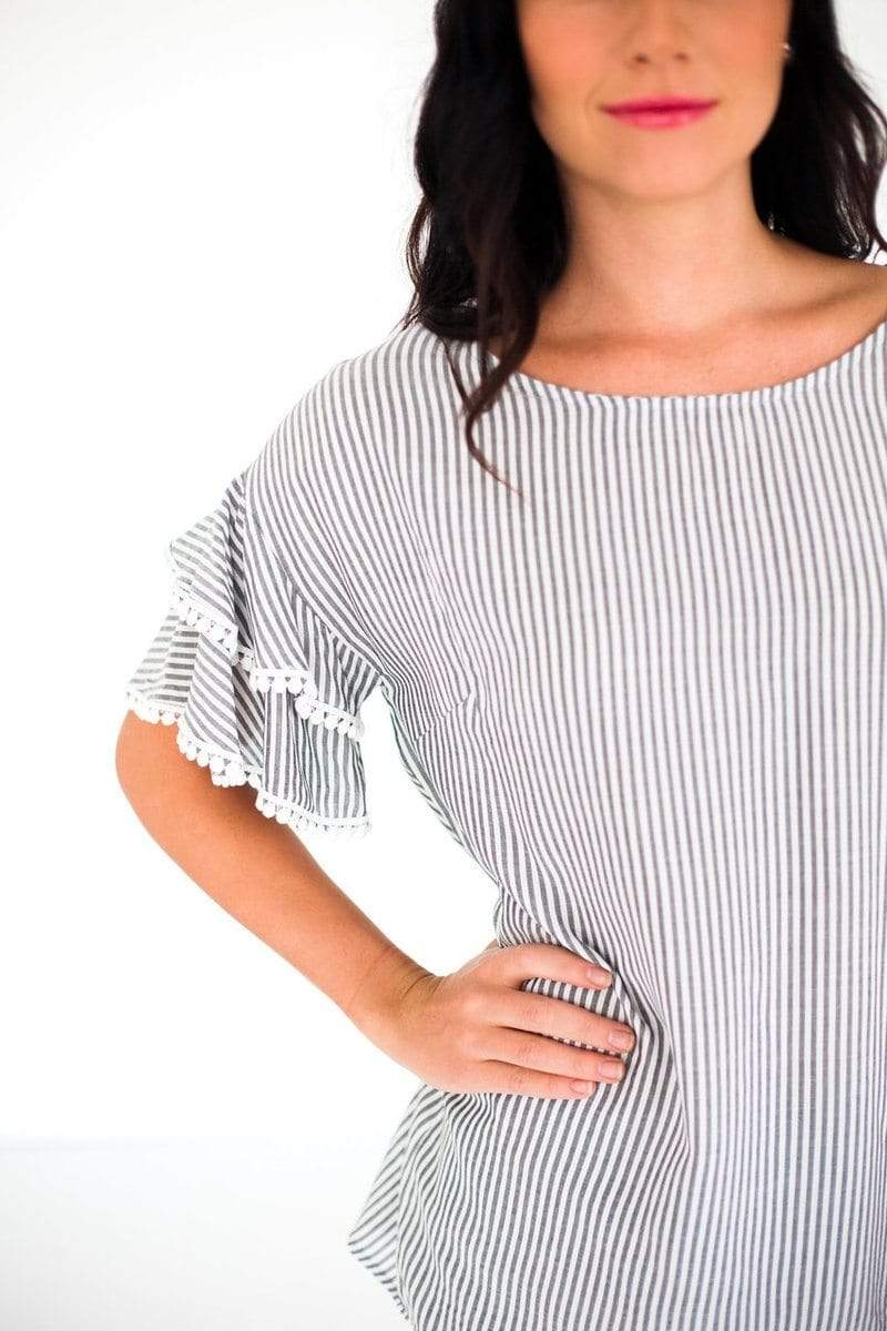 Tops London Striped Pom Sleeve Top Black