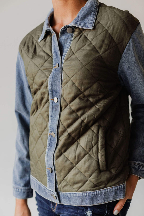 Tops Luke Quilted Denim Jacket Olive