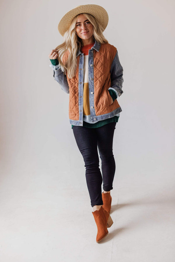 Tops Luke Quilted Denim Jacket Rust