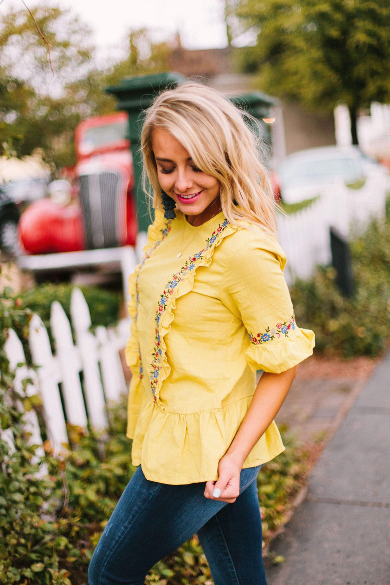 Tops Marie Embroidered Top Mustard