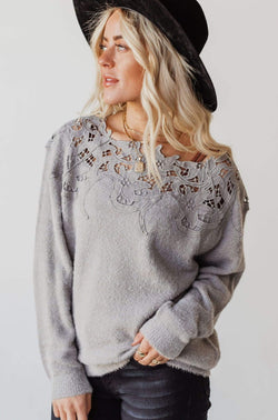 Tops Martha Crochet Insert Sweater Grey