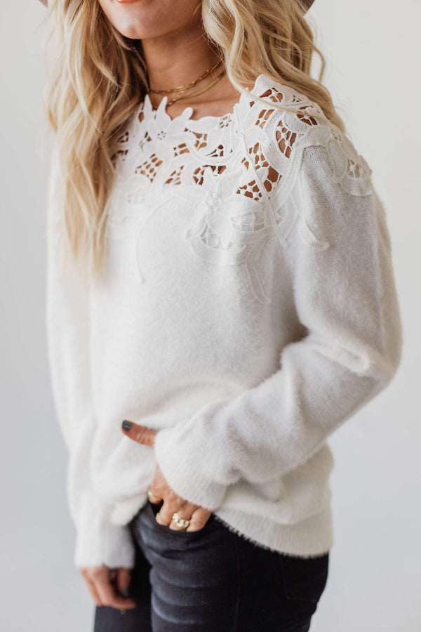 Tops Martha Crochet Insert Sweater Ivory
