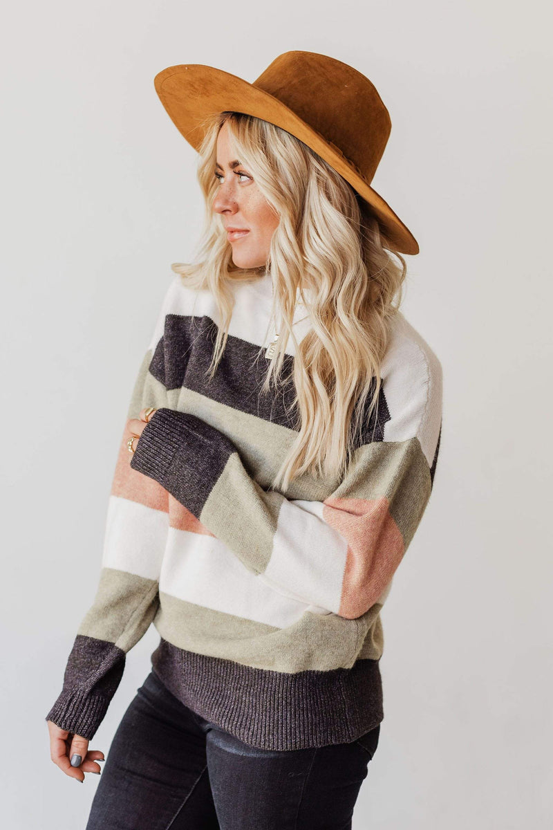 Tops Mary Anne Striped Knit Sweater Sage