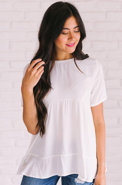 Tops Megan Pom Detailed Top Ivory