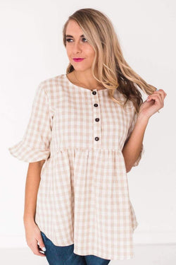 Tops Melanie Gingham Top Taupe