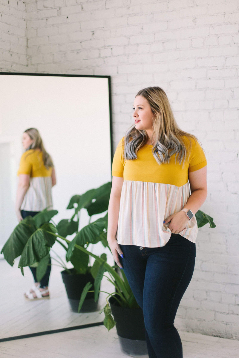Tops Melody Peplum Top Mustard