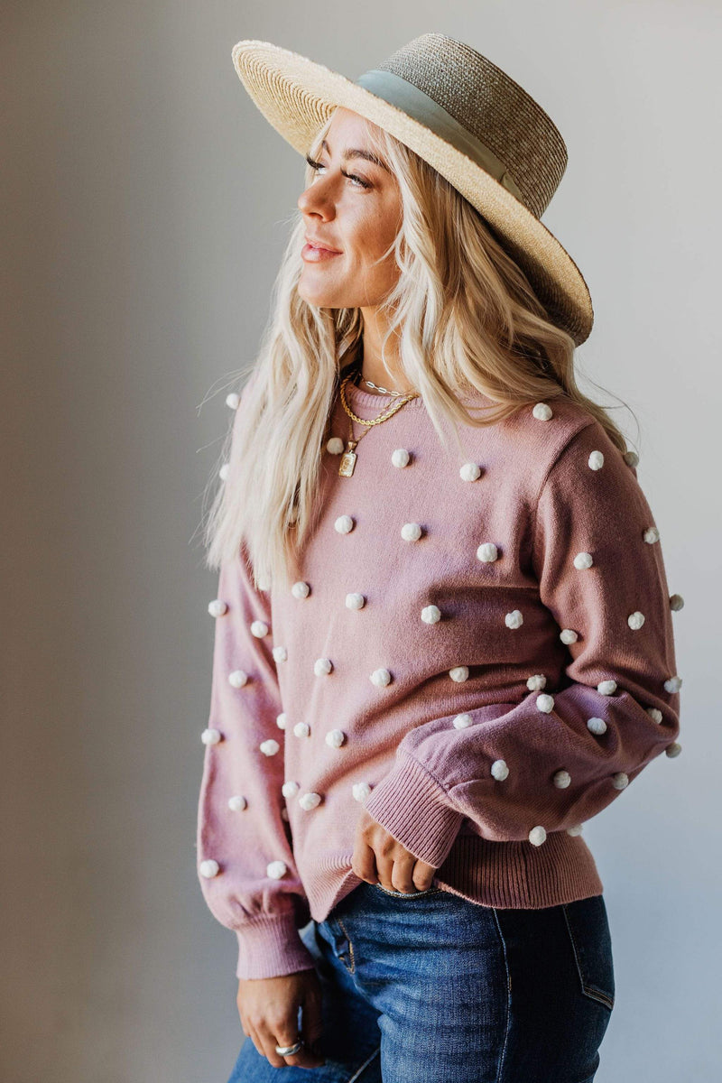 Tops Mercedes Knit Sweater with Pom Poms Blush