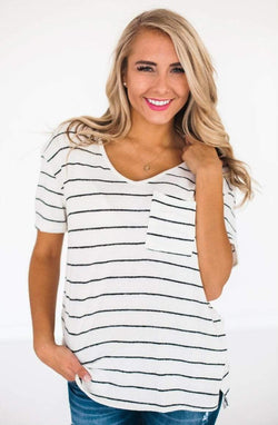 Tops Nori Striped Top Ivory Small