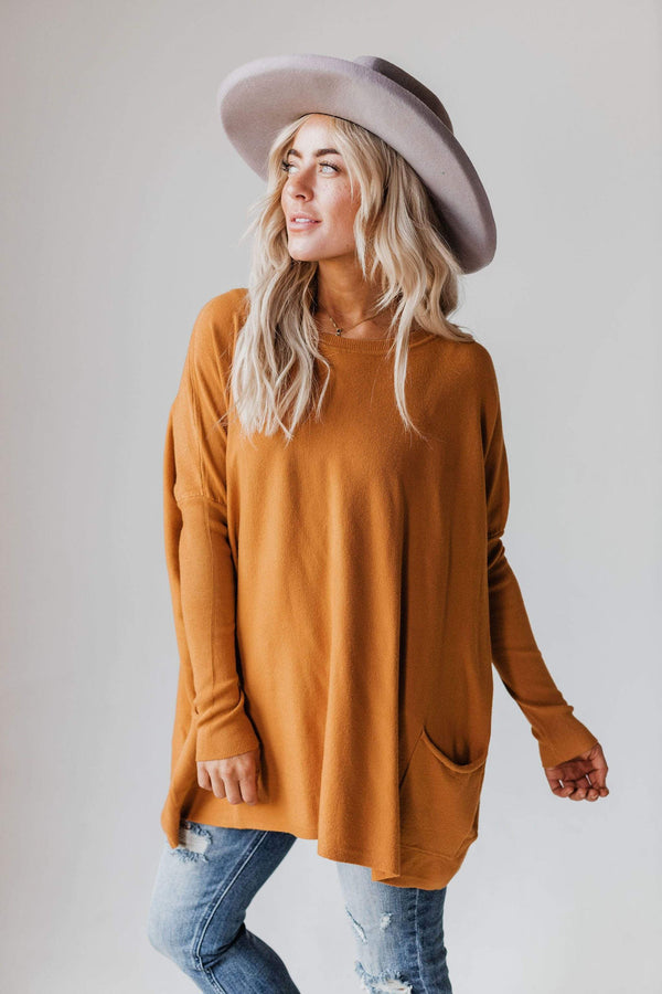 Tops Nova Relaxed Sweater Caramel