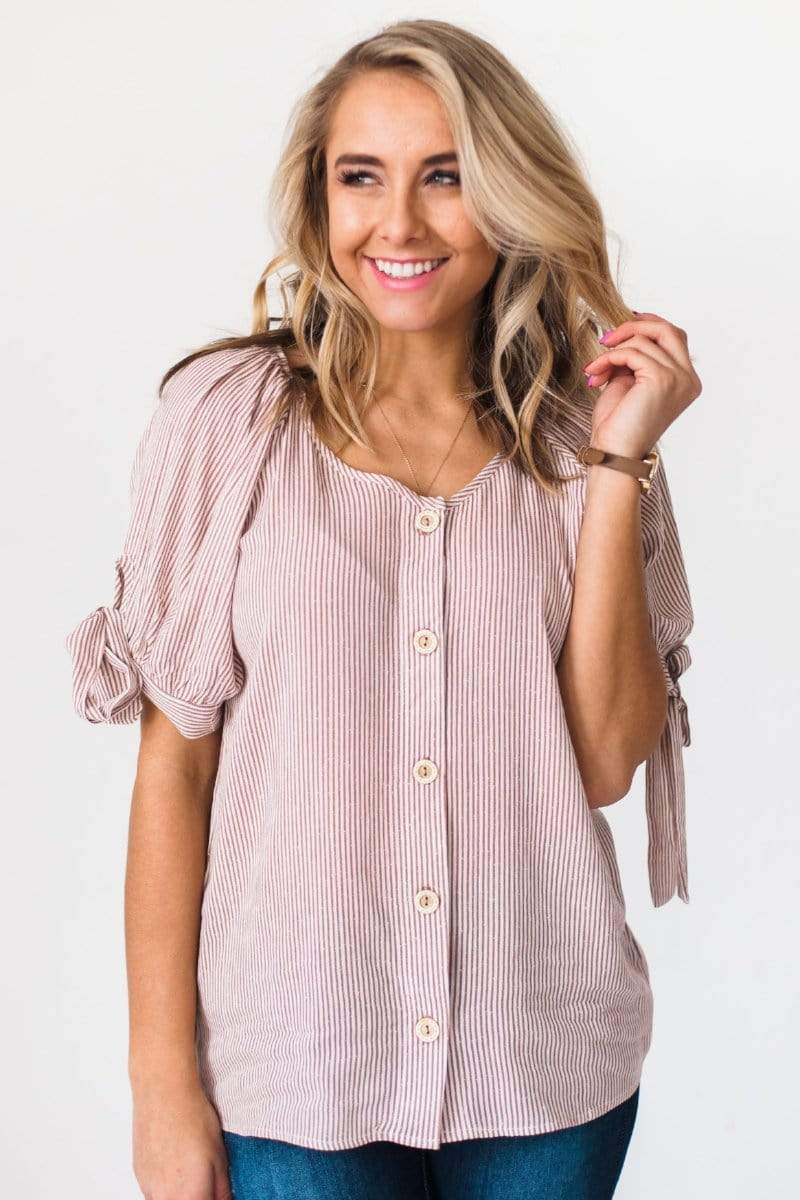 Tops Odetta Button Front Top Rust