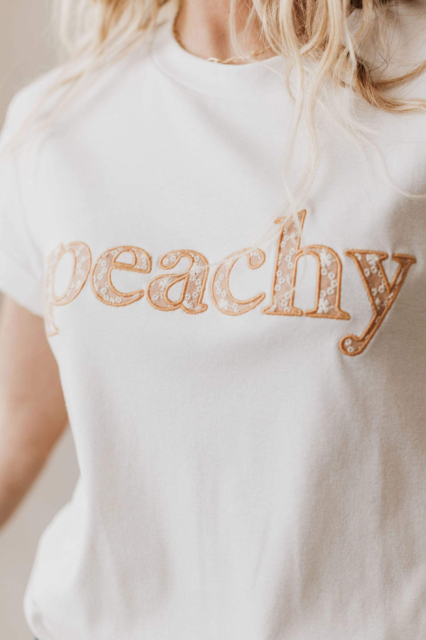 Tops Peachy Embroidered Tee