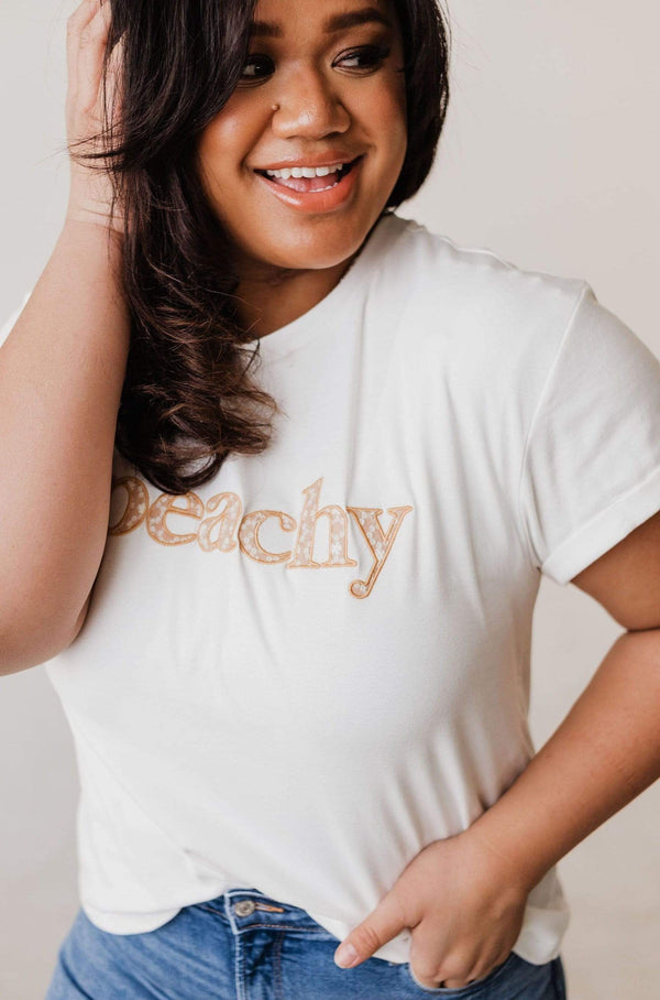 Tops Peachy Embroidered Tee PLUS