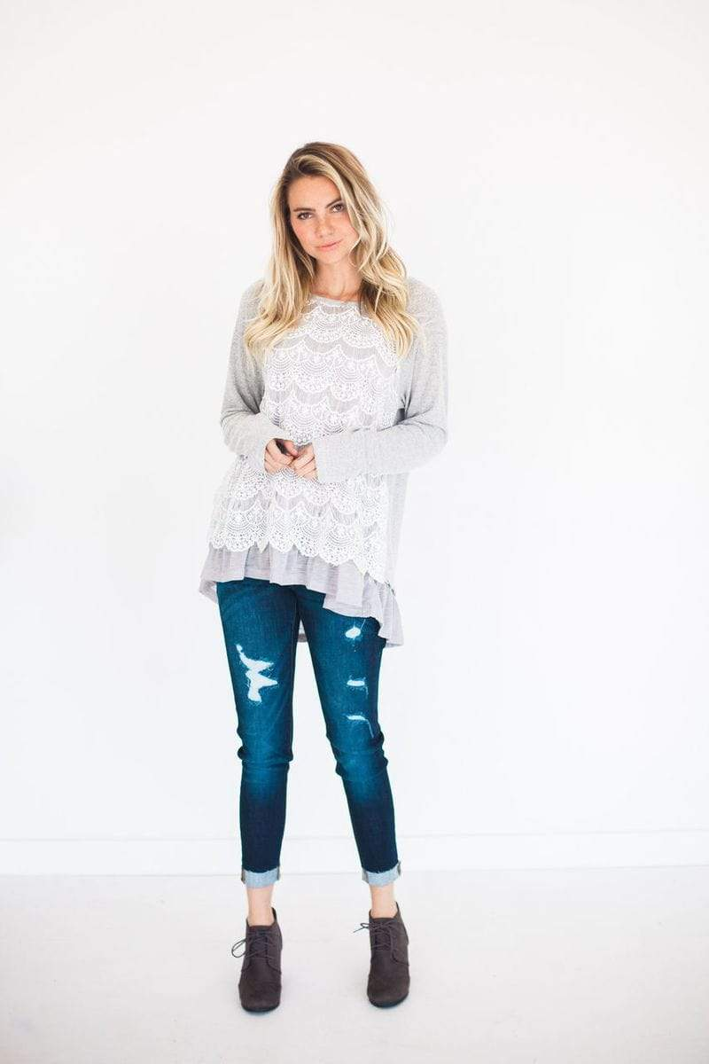 Tops Penelope Lace Overlay Top Grey