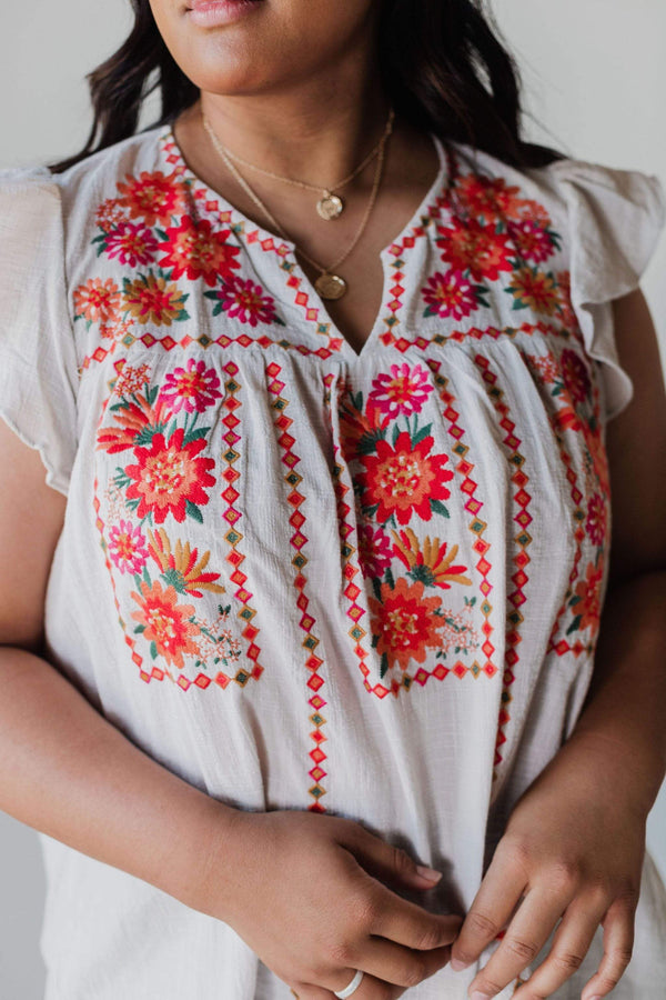 Tops PLUS Janet Embroidered Top