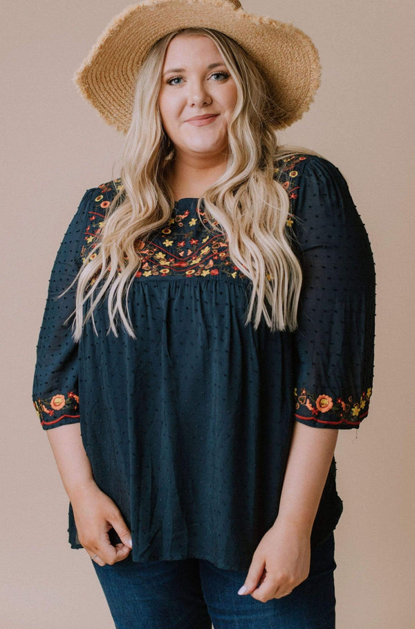 Tops Plus Size Britney Embroidered Swiss Dot Top Navy