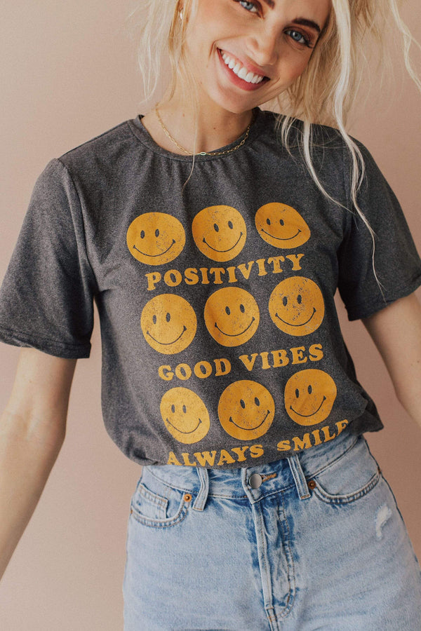 Tops Positivity Smiley Face Graphic Tee