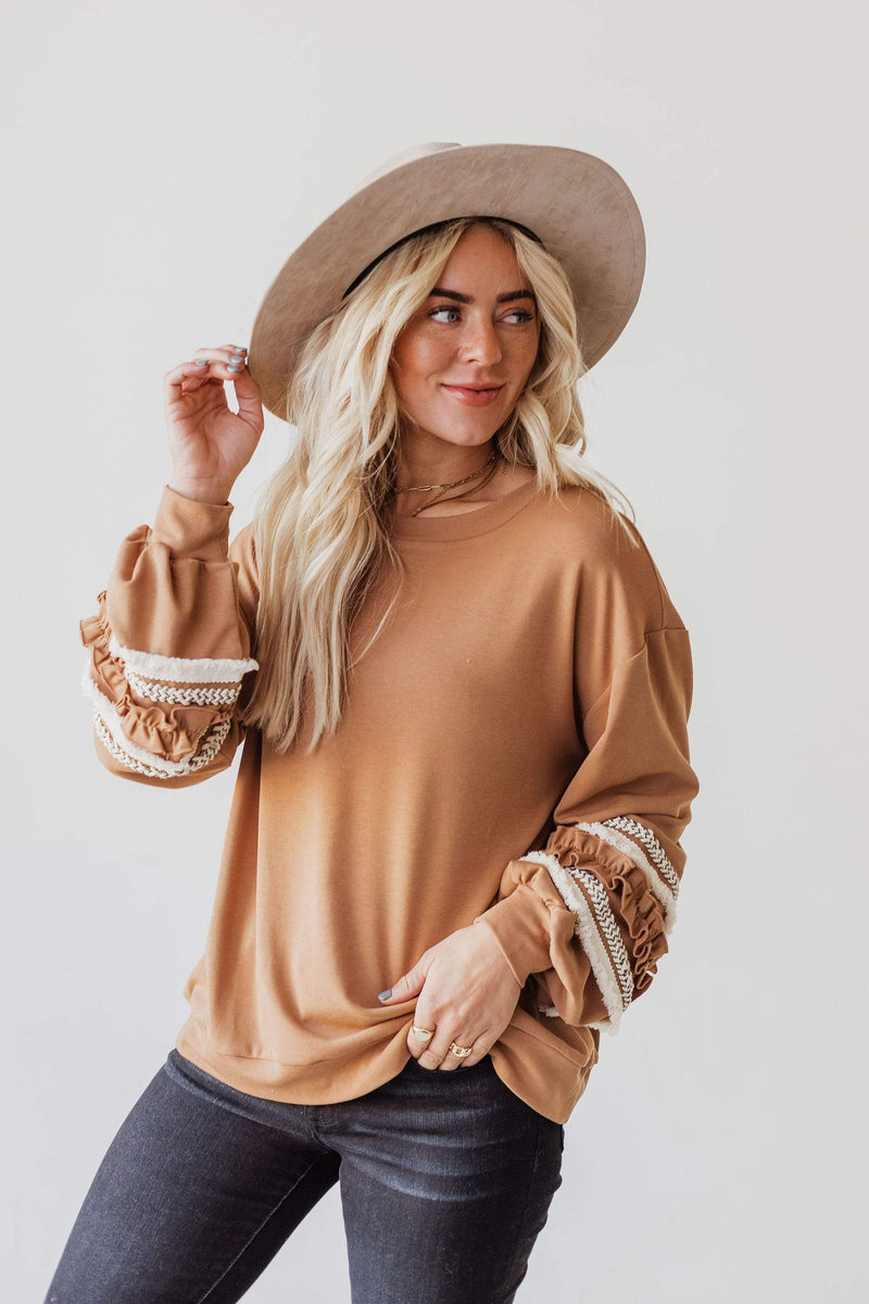 Tops Prim Statement Sleeve Sweatshirt Camel