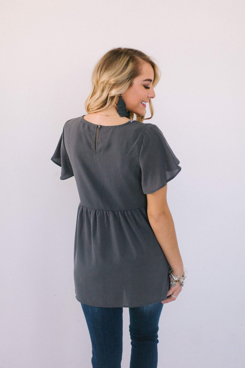 Tops Regan Embroidered Top Charcoal