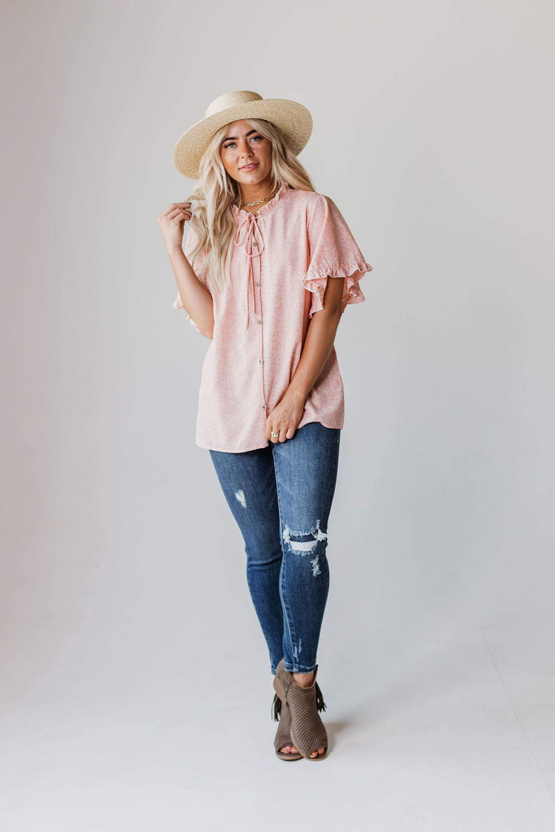 Tops Remi Floral Top Salmon