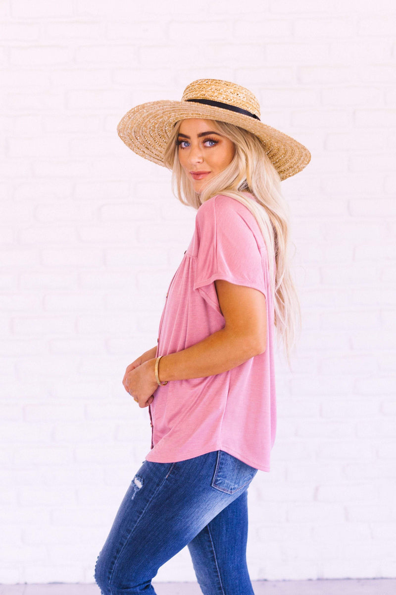 Tops Renee Button Up Top Mauve