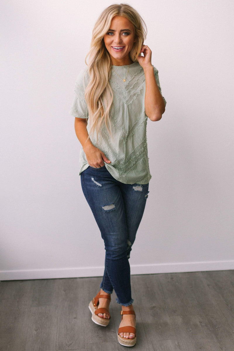 Tops Rome Frayed Top Sage
