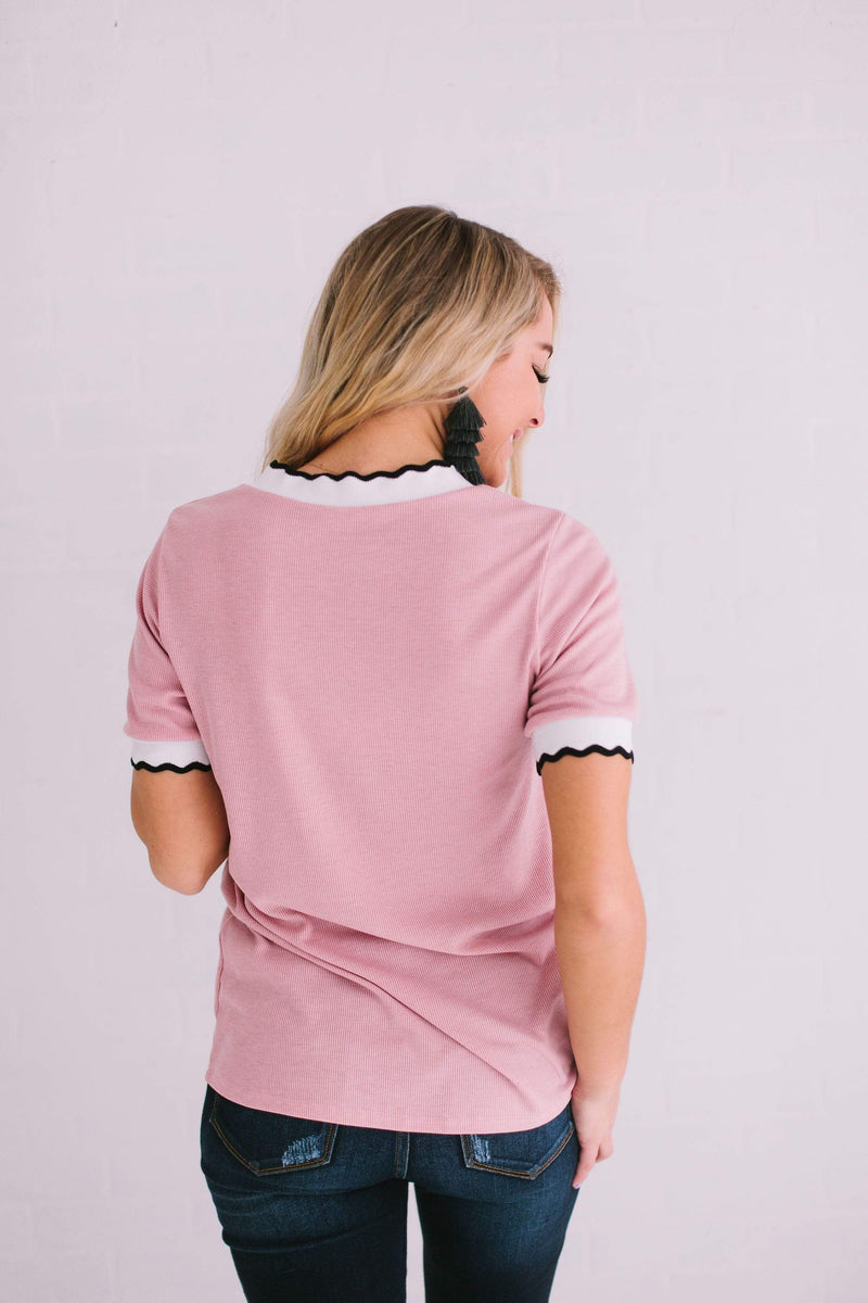 Tops Ronnie Ribbed Top Blush