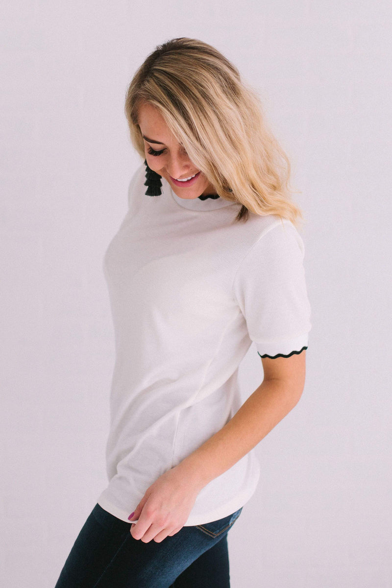 Tops Ronnie Ribbed Top Ivory