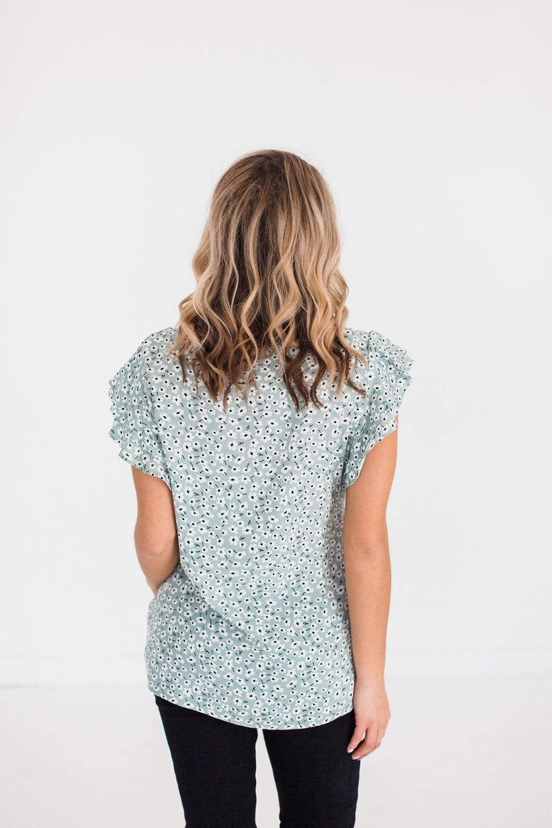 Tops Rumi Floral Top Sage