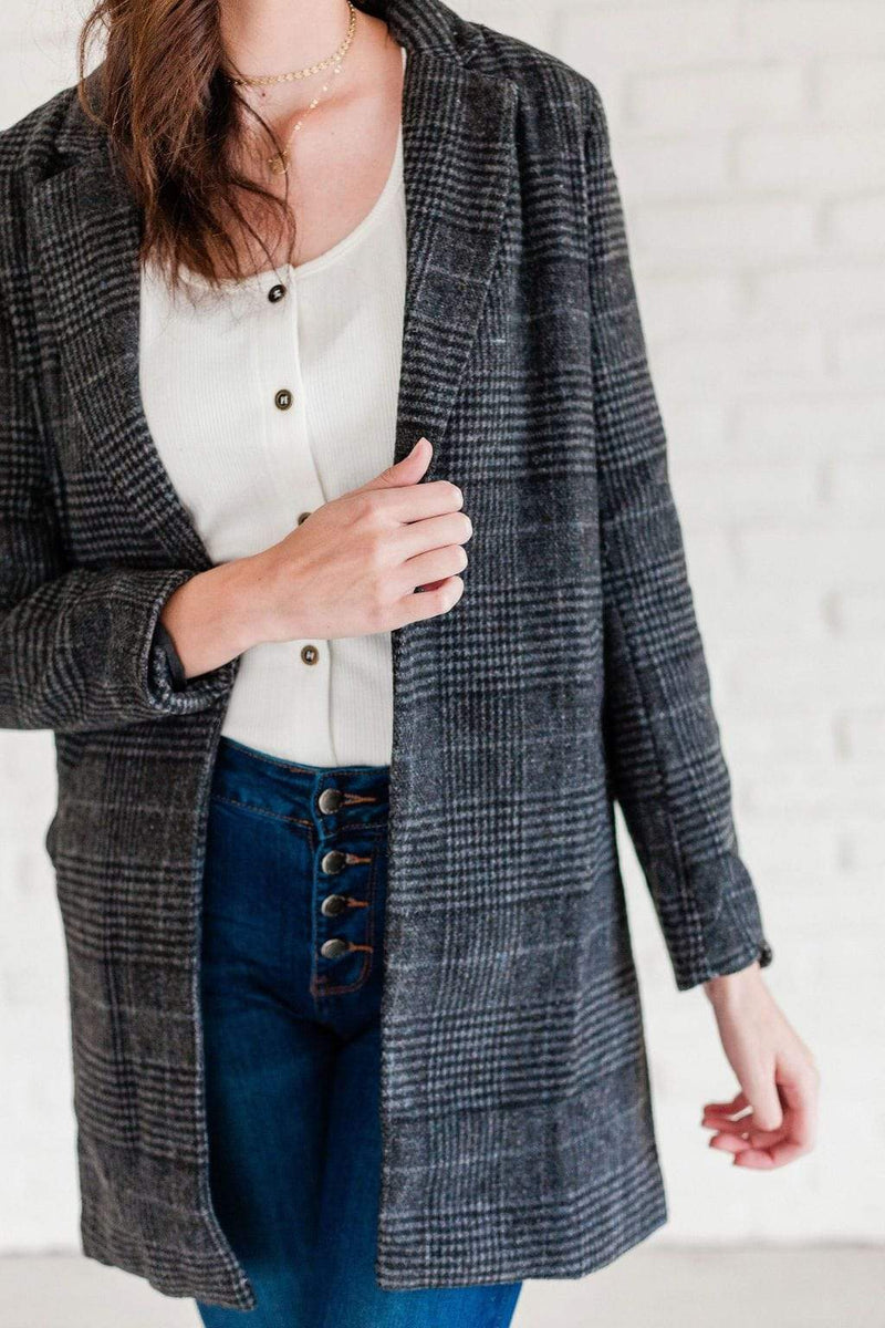 Tops Rylie Plaid Blazer Charcoal