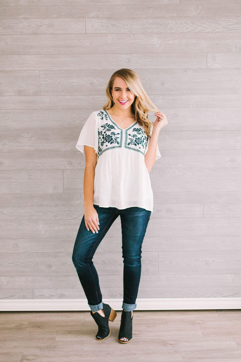 Tops Sadie Embroidered Top Ivory