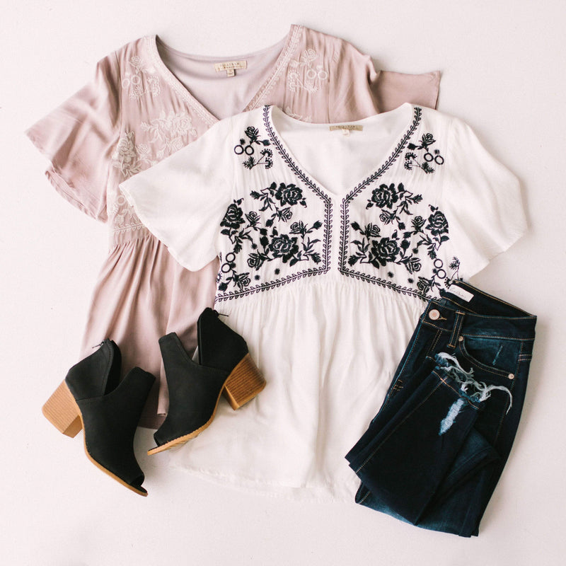 Tops Sadie Embroidered Top Taupe