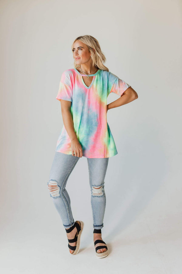 Tops Shawn Cutout Tie Dye Top Electric