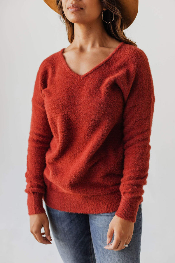 Tops Susan V Neck Fuzzy Sweater Brick