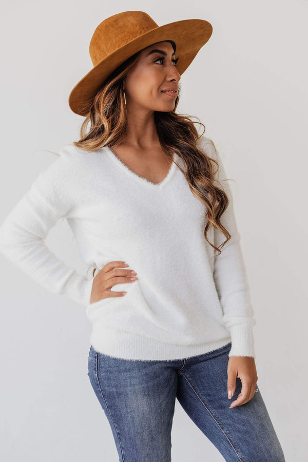 Tops Susan V Neck Fuzzy Sweater Ivory