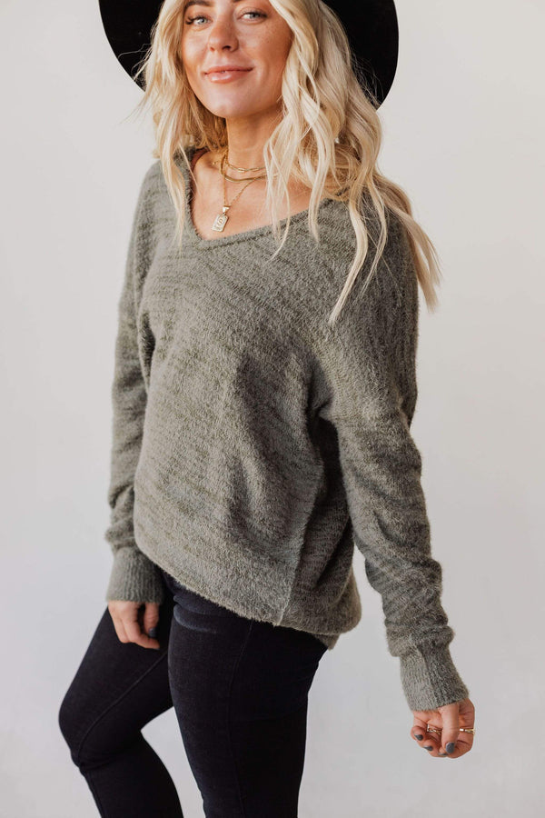 Tops Susan V Neck Fuzzy Sweater Olive